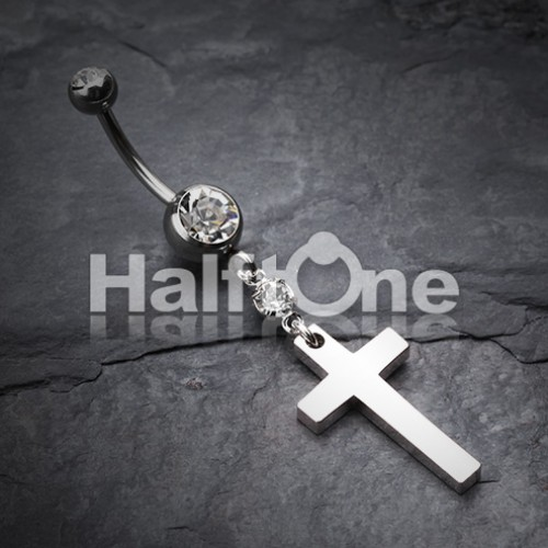 Classic Cross Belly Button Ring
