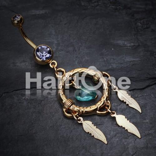 Golden Heart Hoop Dream Catcher Belly Button Ring