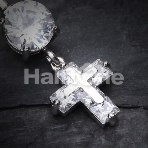 Cross On Cross Sparkle Belly Button Ring