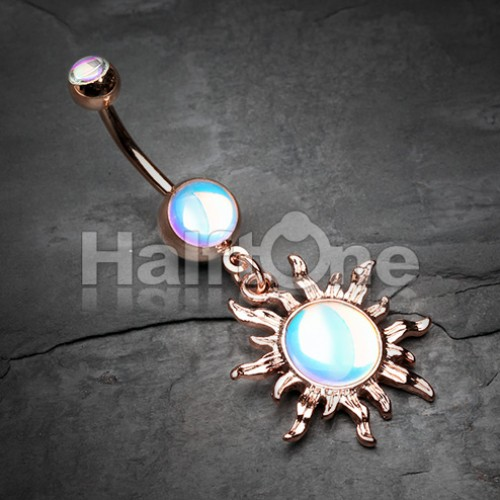 Rose Gold Iridescent Blazing Sun Belly Button Ring