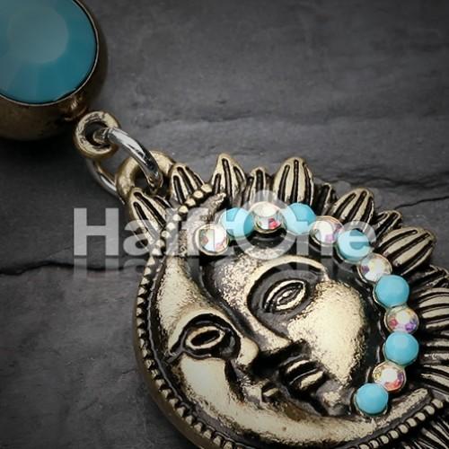 Vintage Boho Sun Moon Belly Button Ring